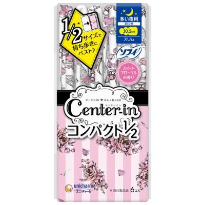 ユニチャーム センターインコンパクト フレグランス スイートフローラルの香り 多い日夜用 羽つき 6枚 婦人衛生用品
