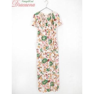 古着 レディース ワンピース 60~70s Sears シアーズ 花柄 首元リボン 前開き ロング 半袖 ドレス 古着