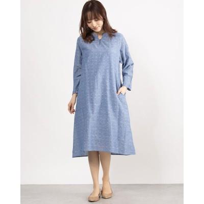 カンカン KANKAN 綿麻ドットドビードレス (ブルー)