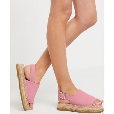エイソス ASOS DESIGN レディース エスパドリーユ シューズ・靴 Hannah suede flatform espadrilles in pink ピンク