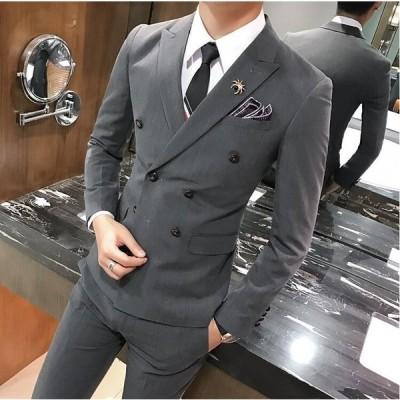 イギリス風 ダブルブレスト メンズスーツ 2点セット ジャケット&ズボン 紳士 宴会 パーティー 通勤 入学式 卒業式  面接 新作 細身 成人式