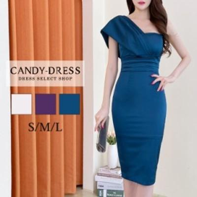 【予約】S/M/L 送料無料 Luxury Dress ヴィンテージサテン×ハイウエストプリーツデザインワンショルダータイトミディドレス TR210607 韓