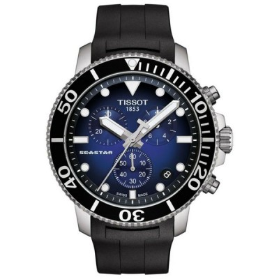ティソ 腕時計 メンズ用 *NEW* Tissot Men's SeaStar Chrono Blue Dial Rubber Band Watch T1204071704100