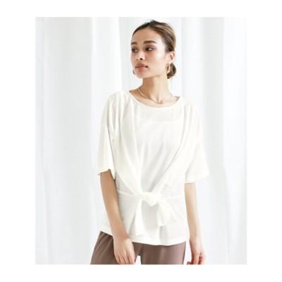 【Alluge】カットミラノウエストリボンTシャツ (オフホワイト(002))