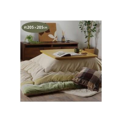 (メーカー直送)(代引不可) 約205×205cm (こたつ布団)正方形 インド綿 綿100% グリーン(イケヒコ)(メール便・ラッピング不可)