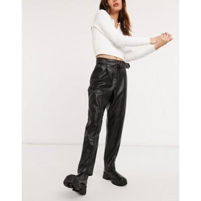 テッドベーカー レディース カジュアルパンツ ボトムス Ted Baker Faydell ponte leather-look belted pant in black Black