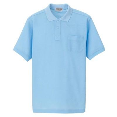 アイトス:半袖ポロシャツ(男女兼用) サックス M 7615