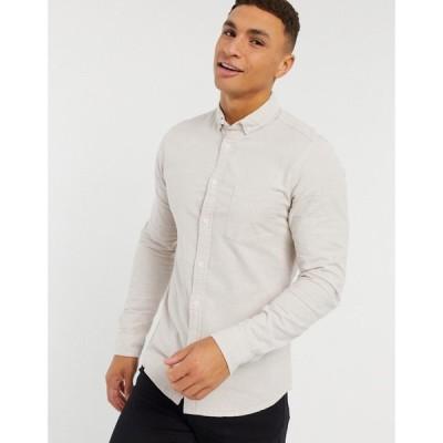 エイソス ASOS DESIGN メンズ シャツ トップス Slim Organic Oxford Shirt Yarn Dye ブラウン