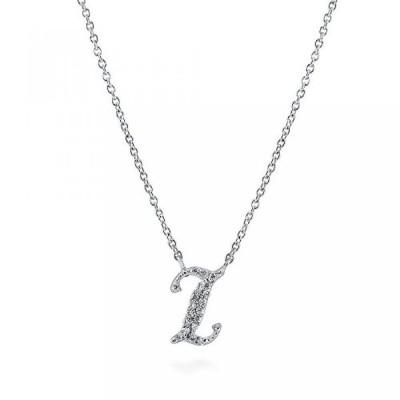 """ベリカル ネックレス レディース用 Rhodium Plated Sterling Silver Cubic Zirconia CZ Initial Letter 'I' Pendant Necklace 16""""+2"""" Extender"""