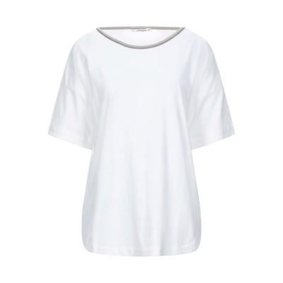 カングラ カシミア KANGRA CASHMERE T シャツ ホワイト 42 コットン 96% / ポリウレタン 4% / シルク / Lurex