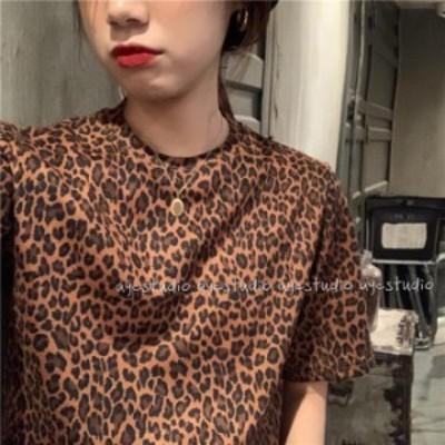 tシャツ レディース レオパード 韓国 ファッション 夏服 レディース ヒョウ柄 tシャツ 可愛い アニマル柄 夏 トップス レディース 韓国