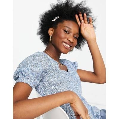 インフルエンス レディース カットソー トップス Influence puff sleeve cotton poplin blouse in ditsy floral print Multi