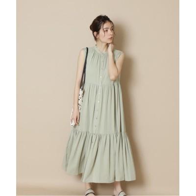 【エヌナチュラルビューティベーシック】 ノースリーブバンドカラーシャツワンピース《S Size Line》 レディース ライトカーキ M N.Natural Beauty Basic