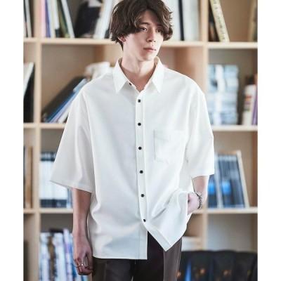 シャツ ブラウス オーバーサイズTRストレッチレギュラーカラーシャツ 半袖