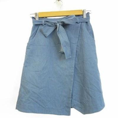 【中古】アプワイザーリッシェ Apuweiser-riche スカート ミニ リボン 青 1 *A429 レディース
