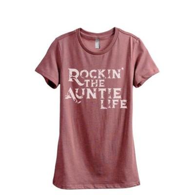 レディース 衣類 トップス Rockin' The Auntie Life Women's Fashion Relaxed T-Shirt Tee Heather Rouge Small グラフィックティー