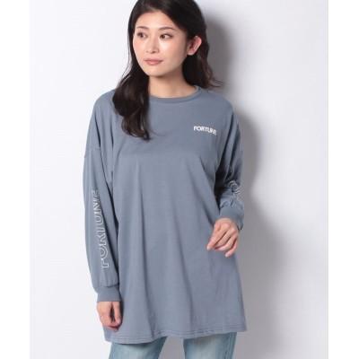 (INGNI/イング)Back5段ロゴロングTシャツ/レディース ブルー