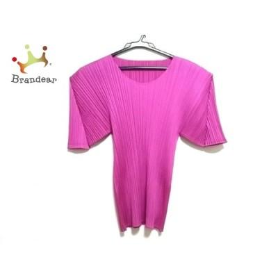 プリーツプリーズ 半袖カットソー レディース 美品 - ピンク クルーネック/プリーツ 新着 20200805