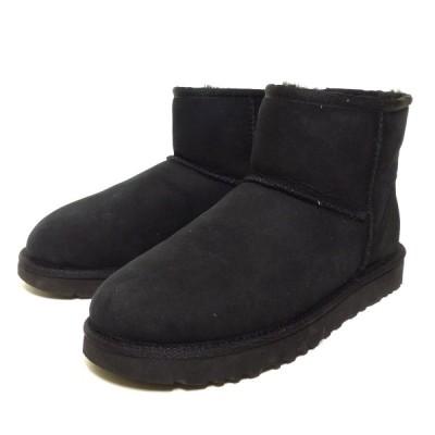 UGG CLASSIC MINI 2 クラシックミニ ムートンブーツ ブラック サイズ:24.0cm (三宮店) 210130