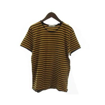 【中古】ノンネイティブ nonnative MASTER TEE S/S JERSEY BORDER Tシャツ 半袖 ラウンドネック コットン ボーダー 茶系 紺 キャメル 1 【ベクトル 古着】