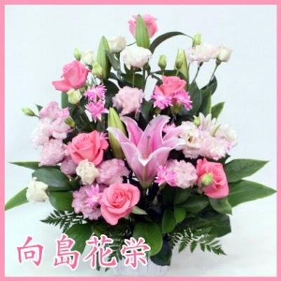 ピンクバラ・ユリ・トルコキキョウの華やかな感じのホワイトバスケットアレンジメント 誕生日 記念日 お祝い