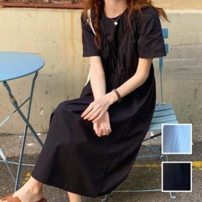 韓国 ファッション レディース ワンピース 夏 春 カジュアル naloI866  ギャザーディテール ゆったり リラクシー シンプル コーデ 定番