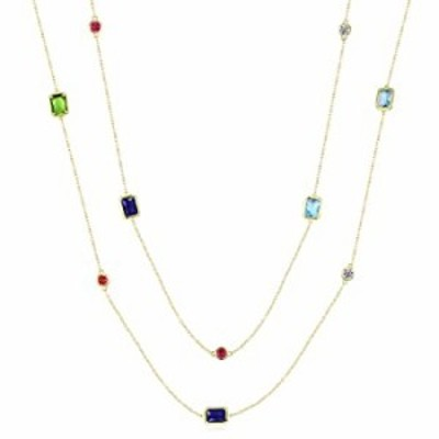 YOGEME multicolour crystal stones, 40.9 inches long sweater chain necklace P1179 (18K gold plated)