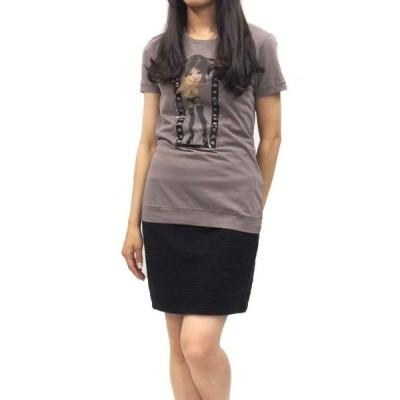 PINKO(ピンコ)ビジュー付きプリントTシャツ(サイズS)(バフ)