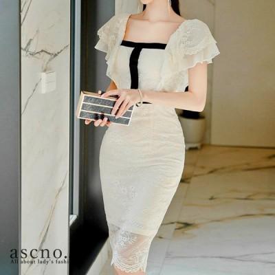 ワンピース ワンピ ドレス ミディアム丈 レース タイト フェミニン きれいめ 韓国 韓国ファッション 30代 40代 デート おめかし 女子会 ディナー