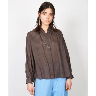 LA MARINE FRANCAISE / ラミーリネンバンドカラーギャザーシャツ WOMEN トップス > シャツ/ブラウス