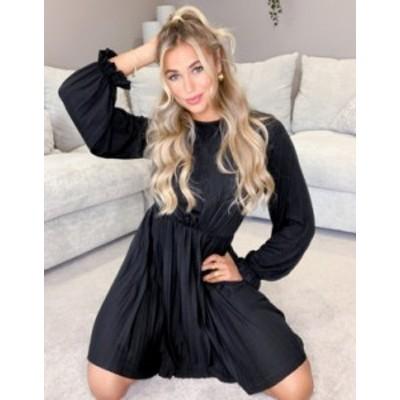 エイソス レディース ワンピース トップス ASOS DESIGN long sleeve pleated mini dress with ruffle cuff in black Black