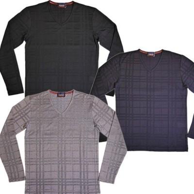 ニコルクラブフォーメン NICOLE CLUB FOR MEN リンクスチェックVネックロングスリーブTシャツ 9464-9805 (アウトレット30%OFF) 通常販売価格:5390円