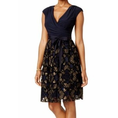 ファッション ドレス SLNY NEW Blue Womens Size 4 Floral Textured Surplice Sheath Dress