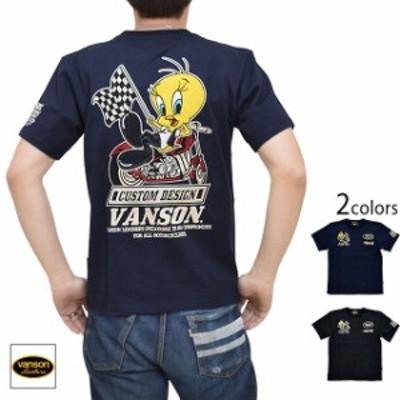 vanson×LOONEY TUNESコラボ 天竺半袖Tシャツ vanson LTV-921 バンソン ヴァンソン トゥイーティー 刺繍 バイカー