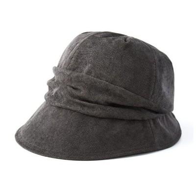 小顔魅せコーデュロイ帽子 グレー/ブラウン