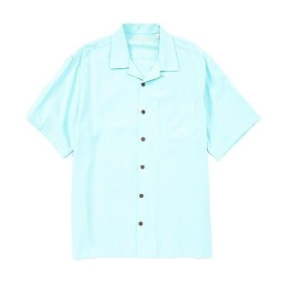 カリビーン メンズ シャツ トップス Solid Pick Stitch Short-Sleeve Woven Shirt Turquoise