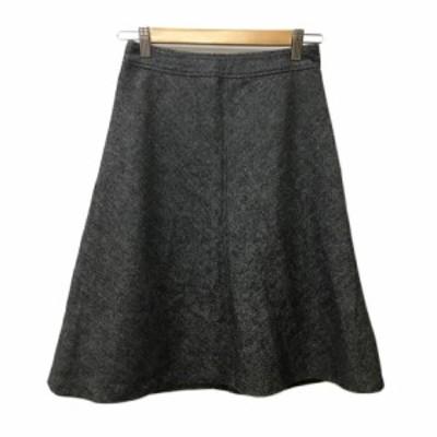 【中古】エムケー ミッシェルクラン MK KLEIN+ スカート フレア ひざ丈 ヘリンボーン ウール 36 グレー 黒 ブラック