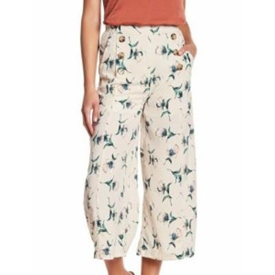 ファッション パンツ Blu Pepper Womens Beige Size Small S Wide Leg Floral Print Crop Pants #795