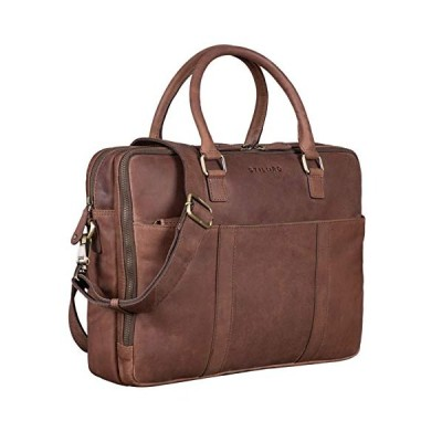 STILORD 'Drake' Vintage Business Shoulder Bag Leather Classic Briefcase for Men Women Large Laptop Bag in Genuine Leather Trolley Attachable, Colour:M