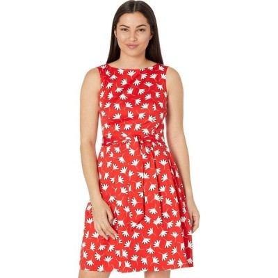 アン クライン Anne Klein レディース ワンピース ノースリーブ ワンピース・ドレス Sleeveless Fit & Flare Dress with Sash Poppy/White Combo