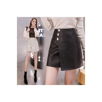 レザースカート フロントボタン 台形スカート Aライン フェイクレザー ミニスカート ショート丈 P