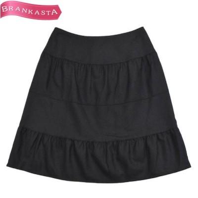 M's GRACY エムズグレイシー ティアードスカート ミモレ丈 フレア 40 M相当 ウール100% 黒 \期間限定特別セール/22ot37