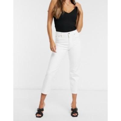 リバーアイランド レディース デニムパンツ ボトムス River Island straight leg jeans in white White