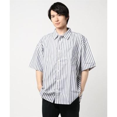 シャツ ブラウス ビッグシルエット半袖ストライプビッグシャツ