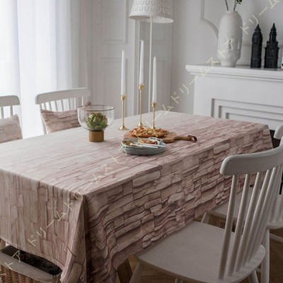 北欧 復古木目調 テーブルクロス 綿麻 生地 吸水 耐熱 長方形  耐久 汚れ防止 撥水 135x180cm テーブルマット デスクマット おしゃれ ナチュラル 爽やか