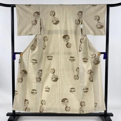 在庫一掃 紬 美品 秀品 丸文 草花 ベージュ 袷 身丈154.5cm 裄丈61.5cm S 正絹 中古