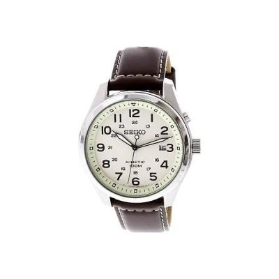 腕時計 セイコー Seiko Men's Kinetic SKA723 Silver Leather Dress Watch