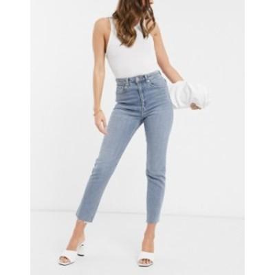 エイソス レディース デニムパンツ ボトムス ASOS DESIGN High rise 'Farleigh' slim mom jeans in lightwash Vintage wash