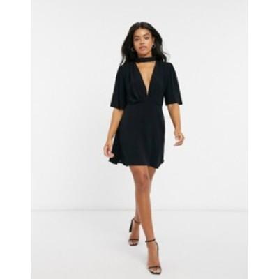 エイソス レディース ワンピース トップス ASOS DESIGN high neck mini dress with flutter sleeves in black Black