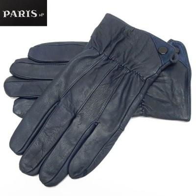 手袋 PARIS16e 羊革/シープスキン ネイビー メンズ グローブ メール便可 LAM-N08-NV